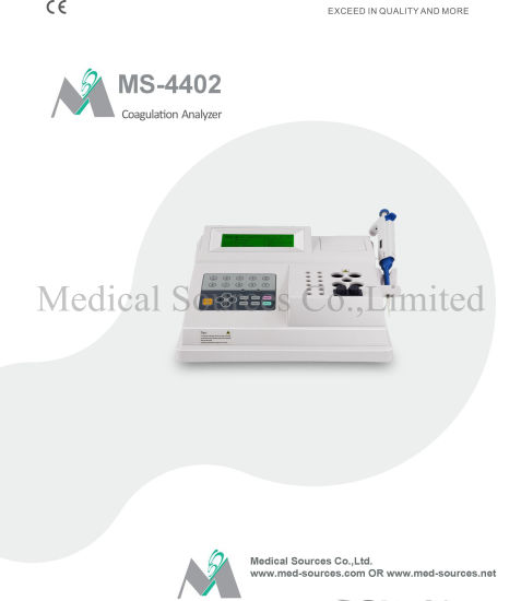 (MS-4402) Analyseur de coagulation, coagulomètre semi-automatique Coagulometro,